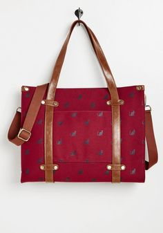 ModCloth Camp Director Zipped Tote in Crimson Cat Unique Backpacks, Luxury Sunglasses, Cute Bags, Modcloth, Leather Handle, Women's Accessories, Messenger Bag, Purses And Bags, Vogue