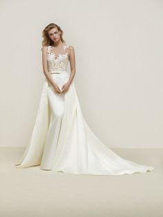 Vestido de novia sobrefalda raso - Dranoe