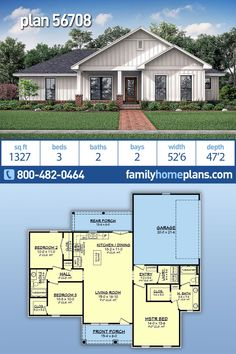 Looking for a budget friendly farmhouse design? This might be the home plan you are looking for. New to Family Home Plans is this 2 bathroom, 1327 sq ft floor plan. Not only does this house Basement House Plans, Family House Plans, House Plans One Story, Bedroom House Plans, Craftsman House Plans, Country House Plans, New House Plans, Small House Plans, Craftsman Farmhouse