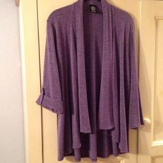 "Comfy drapey flowy cardi! Bobeau open front purple heather cardi, rayon/poly/spandex blend, sleeves can be worn long or buttoned up to 3/4, measure 29-3/4"" from bottom of neck to back hem, size 1X, very gently worn! bobeau Sweaters Cardigans"