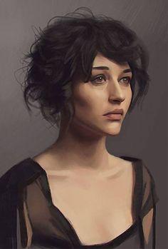 """Portrait study"" - Carlos Alberto {figurative art beautiful female head young woman face digital painting #loveart}"