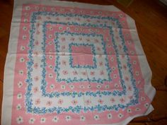 Tablecloth Pink  blue Flowers white Cottage  Chic  by raggedy10, $25.00