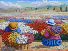 Diamond Painting Bunch of Flowers Art And Illustration, Illustrations, Cuban Art, Mexican Art, Kunst Der Aborigines, Hispanic Art, Peruvian Art, Latino Art, Art Africain