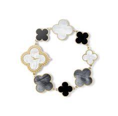 Vintage Alhambra Bracelet Watch. Yellow gold, mother-of-pearl, onyx. Quartz movement.