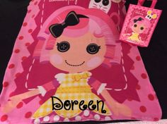 Lalaloopsy Personalized Kids Fleece Throw Blanket & Tote Bag - Monogrammed by CACBaskets on Etsy Kids Blankets, Matching Gifts, Lalaloopsy, Sewing Studio, Fleece Throw, Coloring Books, Minnie Mouse, Monogram