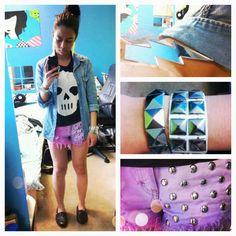 Pastel studded shorts, skull tank, denim shirt #ootd #hm #forever21 #diy #skulls #studs #pastel #shorts