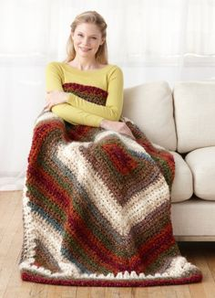 Vintage On-The-Bias Afghan by Lion Brand ~ Free crochet pattern ~ made in 4 large blocks