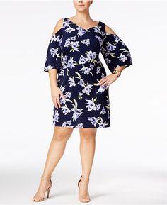 d9a874b8c69be Connected Plus Size Floral-Print Cold-Shoulder Dress Women - Dresses -  Macy's
