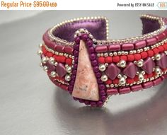Check out Birthday discount Bead Embroidery,  Bracelet,  Cuff ,   Seed beads jewelry,   Fashion jewelry,  Burgundy, Rhodochrosite, Purple, Silver, on vicus