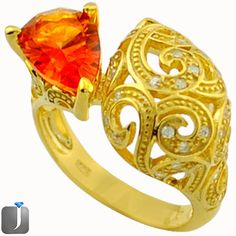 7.63cts ORANGE RAINBOW TOPAZ 14K GOLD 925 SILVER COCKTAIL RING SIZE 7 D17657 #jewelexi #RING