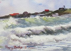 Mavillette Surf by Poppy Balser Watercolor ~ 5 x 7