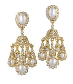 Kenneth jay lane coral teardrop clip earring costume jewelry kenneth jay lane crystal pearl chandelier clip earring aloadofball Gallery