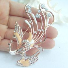 Golden Tone Rhinestone Bird Brooch, Unique Phoenix Brooch Pin w Clear Rhinestone Crystal Jewelry Design, Unique Jewelry, Designer Jewelry, Crystal Rhinestone, Brooch Pin, Costume Jewelry, Phoenix, Bird, Crystals