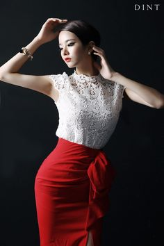 lace Fabric Cap Sleeve Blouse Ruffle bowknot key point teuim Long Skirt red skirt white blouse dint