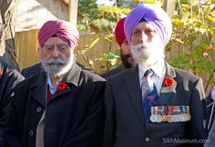 Sikh Military Veterans Captain Harjit Singh Bains, Corp of Signals, Captain Mohabat Singh, 7th Sikh Regiment at the 2010 Sikh Remembrance Day Ceremony sponsored by SikhMuseum.com