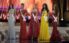 The five finalists awaiting to hear their fate at the final on Sunday. Miss Jamaica had to leave the stage after coming in fifth in the contest