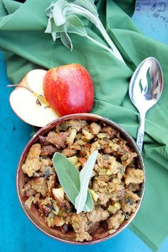 Healthy vegetarian and vegan stuffing with apples, celery, onion, and sage.