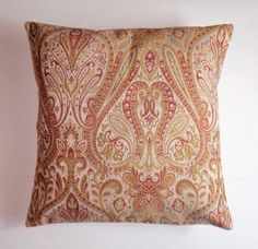 Throw Pillow Cover Ornate Tapestry in Gold by PersnicketyHome