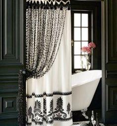 Glam black and white bathroom. designer shower curtain