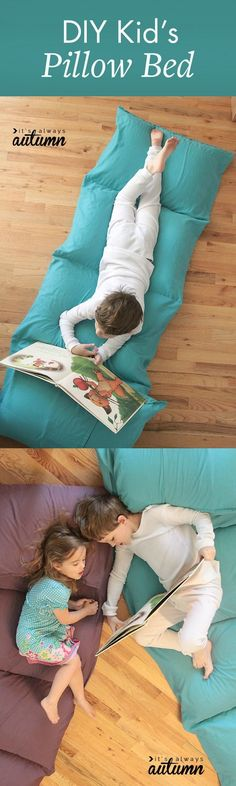 Sewing For Kids Easy Easy DIY Sewing Project - DIY Kid's Pillow Bed, from It's Always Autumn, is a fantastic homemade gift idea to make your kids smile. DYI - learn how to make a pillow bed or pillow chair for kids the cheap Sewing Projects For Kids, Sewing For Kids, Diy For Kids, Sewing Crafts, Diy Projects, Sewing Tips, Sewing Ideas, Homemade Christmas Gifts, Christmas Diy
