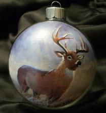 Hand painted Christmas ornament of a whitetail buck.