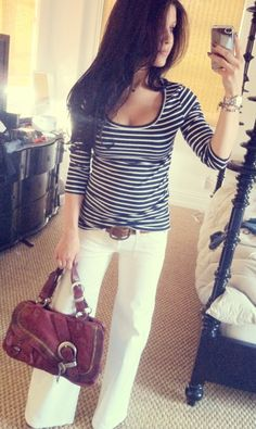 Summer Stripes & White Flares #womensstyle #whitedenim #wideleg #flares #summerstyle #stripes #casualstyle