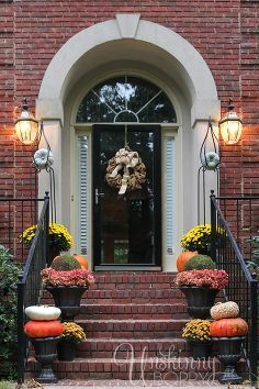 business in the front party in the back fall porch decor for all, porches, seasonal holiday decor, Strictly business in the front Traditional symmetrical and beautiful fall decorating on the front stoop