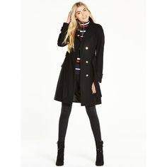 V By Very Petite Funnel Neck Smart Coat ($73) ❤ liked on Polyvore featuring outerwear, coats, funnel neck coat, wrap coat, white coat, petite coats and funnel collar coat