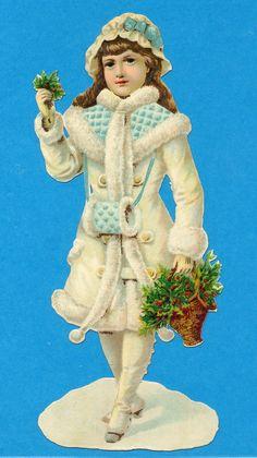 OBLATEN, VICTORIAN SCRAP XL WINTER KIND IM PELZ, STECHPALME SNOW CHILD   eBay