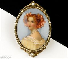 Vintage Original By Robert Hand Painted Portrait Miniature Brooch Pin Pendant