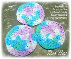 Eco Friendly Face Scrubbers Multicolour Reusable Makeup | Etsy Crochet Faces, Crochet Round, Dr Brown Bottles, Makeup Removers, Handmade Gifts For Her, Cerise Pink, Spa Gifts, Cotton Pads, Gifts For Teens