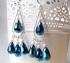 Glamourous Blue Chandelier Earrings  OOAK unique by Kirameku