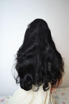 Hair hair styles hair color hair cuts hair color ideas for brunettes hair color ideas Wavy Hair, Her Hair, Wavy Black Hair, Long Dark Hair, Curly Hair Styles, Natural Hair Styles, Body Wave Hair, Dream Hair, 100 Human Hair