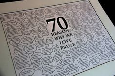 """Sometimes Creative: 70th Birthday or ANY milestone event. . .  .I've just started one using Publisher for the """"talk bubbles"""" (original person lost her file in a computer crash)"""