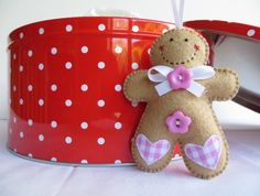 Small Felt Pink Gingham Gingerbread Man Ornament