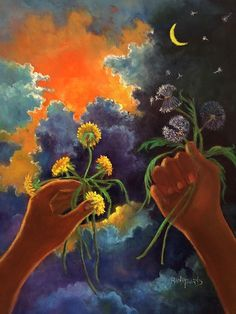 Cycle Painting - Cycle Of Life Hands Ot Heaven Series by Randy Burns Cycle Painting, Painting & Drawing, Gcse Art Sketchbook, Death Art, Flag Art, Moon Art, Beautiful Paintings, Creative Art, Flowers