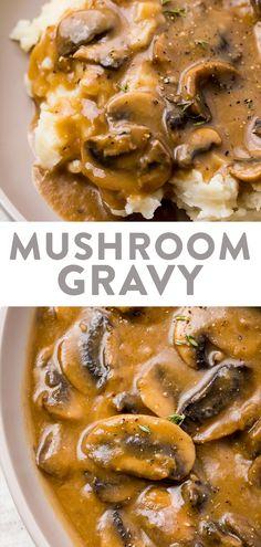 Vegetable Gravy Recipes, Mushroom Recipes, Vegetarian Recipes, Cooking Recipes, Vegetarian Gravy Recipe, Steak And Mushrooms, Stuffed Mushrooms, Stuffed Peppers, Mushroom Gravy For Steak