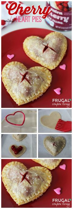 Valentines Dessert. Valentine's Day Mini Heart Cherry Pies on Frugal Coupon Living. Valentines Idea. Cherry Pie Recipe.