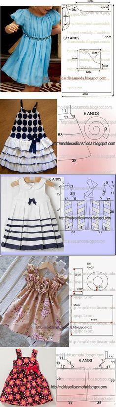 Elegant dresses for girls - pattern / design for everyone! Kids Dress Patterns, Baby Clothes Patterns, Clothing Patterns, Skirt Patterns, Coat Patterns, Blouse Patterns, Little Dresses, Little Girl Dresses, Baby Dresses