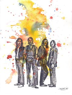 The Beatles Art Watercolor Painting. Tissue print, modge podge, after watercolor or textured acrylic