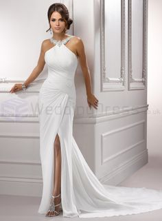 Gossamer Chiffon Jweled Halter Neckline Sheath Wedding Dress - UK Wedding Dresses Shop