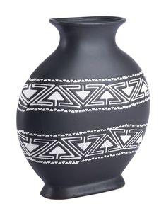 Zuo Modern Kolla Medium Vase In Black/white Narrow Shelves, Round Vase, Tribal Decor, Ceramic Materials, White Vases, Home Decor Trends, Vases Decor, Black Pattern, Decoration