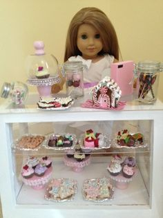 """Sweet treats glass canisters for bakery for 18"""" doll or American Girl Dolls. $22.50, via Etsy."""