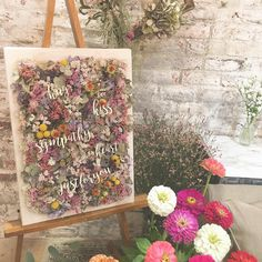 WEDDING planning designerさんはInstagramを利用しています:「*Color on ME* 生地を貼ったキャンバスに ドライフラワーで作ったボード。 色付けをお花で表現するなんて なんてかわいい...♡ おふたりの大切にしたい言葉をのせて。 今は玄関に飾ってあるそうです♡♡ made by @itaya.tsg…」