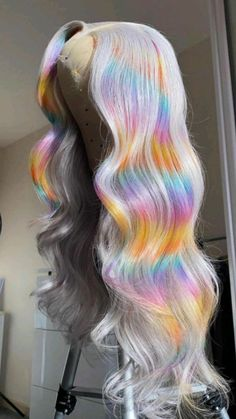 Weave Hair Color, Hair Dye Colors, Hair Color List, Frontal Hairstyles, Dope Hairstyles, High Fashion Hair, Curly Hair Styles, Natural Hair Styles, Rainbow Wig