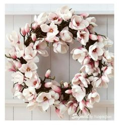 Lovely cherry blossom wreath. (Or magnolia??)