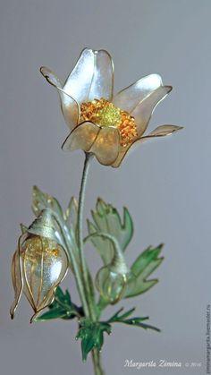 Купить Анемоны (Anemone). Ювелирное украшение. - белый, букет, весна, весенние цветы, нежный, Exquisite Wire and Resin Kanzashi Flower Hair Jewelry.