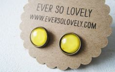 Canary yellow round earrings  nickel free post  by EverSoLovely, $15.00