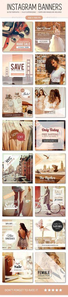 Instagram Promotional Ads Banner Design Templates | Feminine Style - Social Media Web Elements Design Template PSD. Download here: https://graphicriver.net/item/instagram-promotional-templates-feminine-style/19387082?ref=yinkira