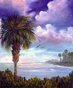 Florida Tropical Palm Tree  Sunrise Seascape Original Oil Painting Art Clouds Ocean by Diana White. $59.50, via Etsy.